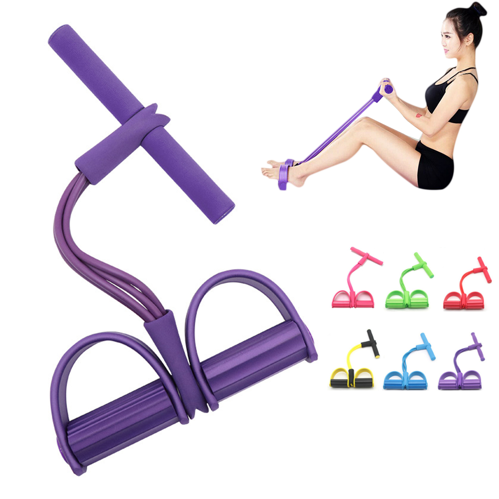 Fitness 4 resistance band tube latex ankle trainer sit-ups drawstring expander elastic band yoga equipment Pilates exercise(China)