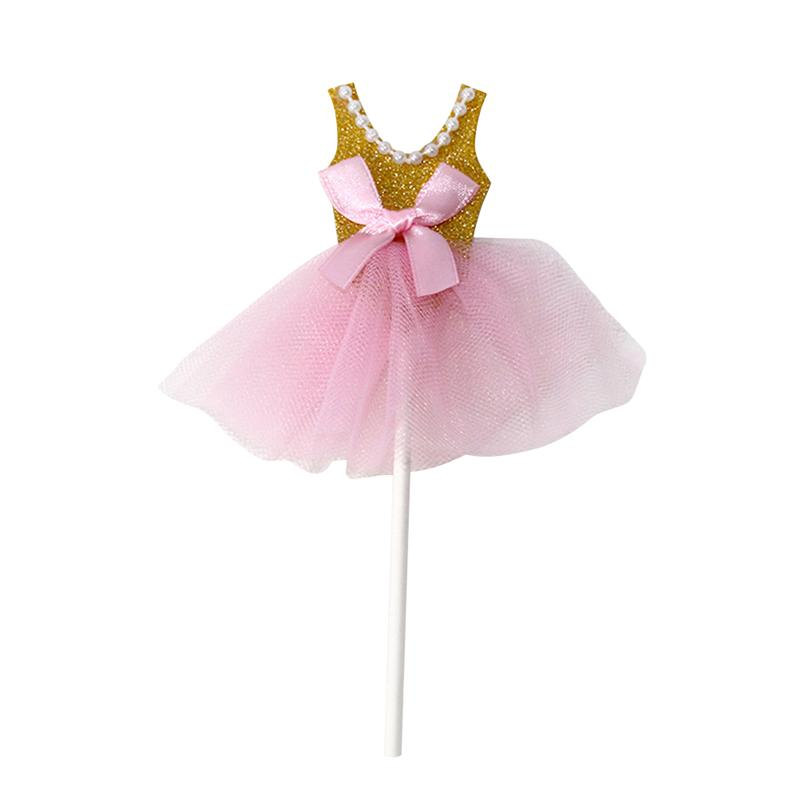 Image 3 - 5Pcs Bling Bling Ballerina Skirt Tutus Dress Cake Topper Party Cupcake Flags Cake Decoration Fruits Picks For Theme Event A3-in Cake Decorating Supplies from Home & Garden