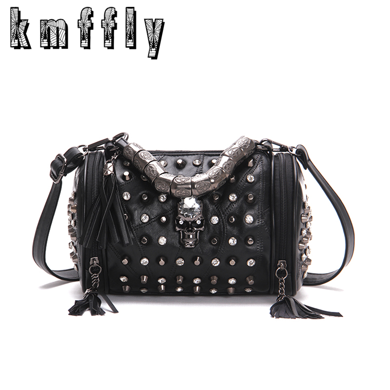 New Skull Bucket Bags Rivet Sheepskin Women Tote Bag 2017 Diamonds Luxury Women Designer Handbag High Quality Brand Shoulder bag