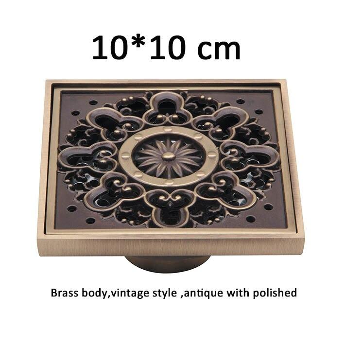 ᗖ100mm X 100mm Antyczny Mosiądz Plac Piętro Spustowy Art Rzeźbione
