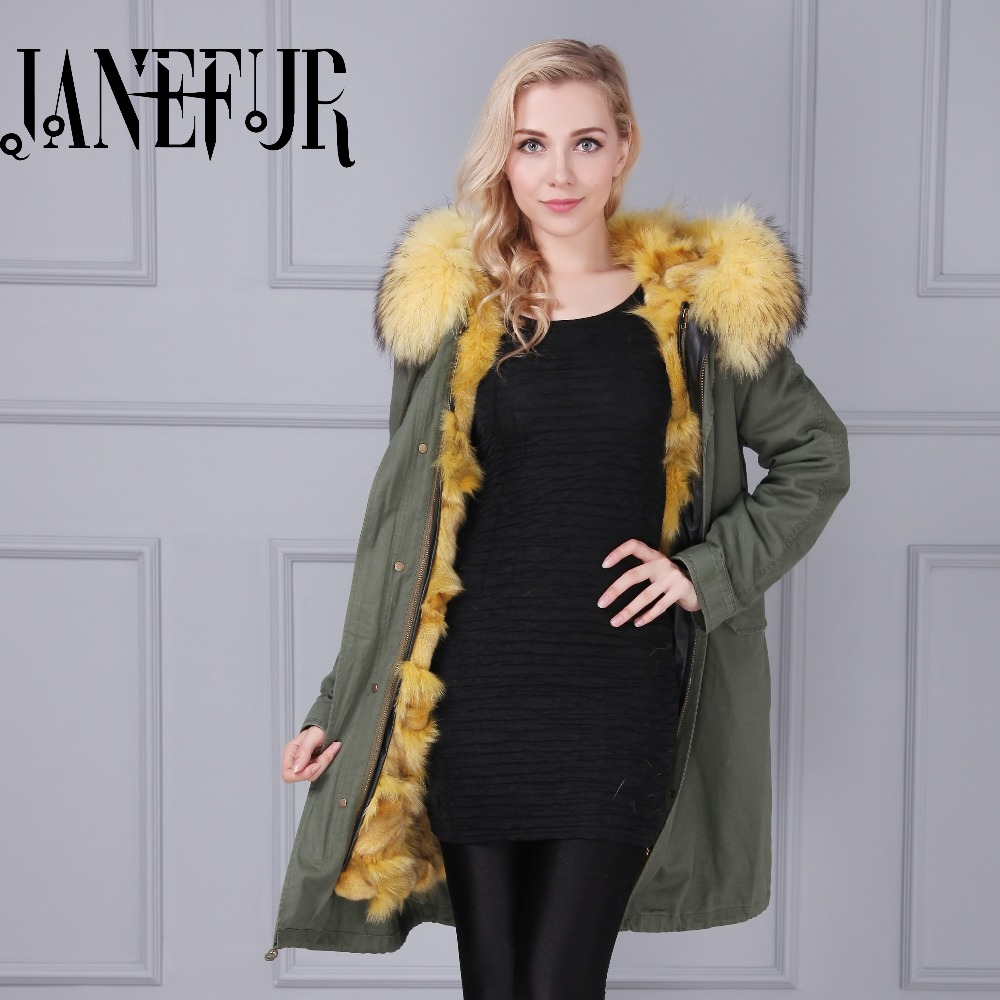 2016 Fashion women's army green Large raccoon fur collar hooded coat parkas outwear detachable fox fur lining winter jacket kohuijoos 3xl winter women army green large raccoon fur collar hooded coat warm detachable natural fox fur lining parka coats