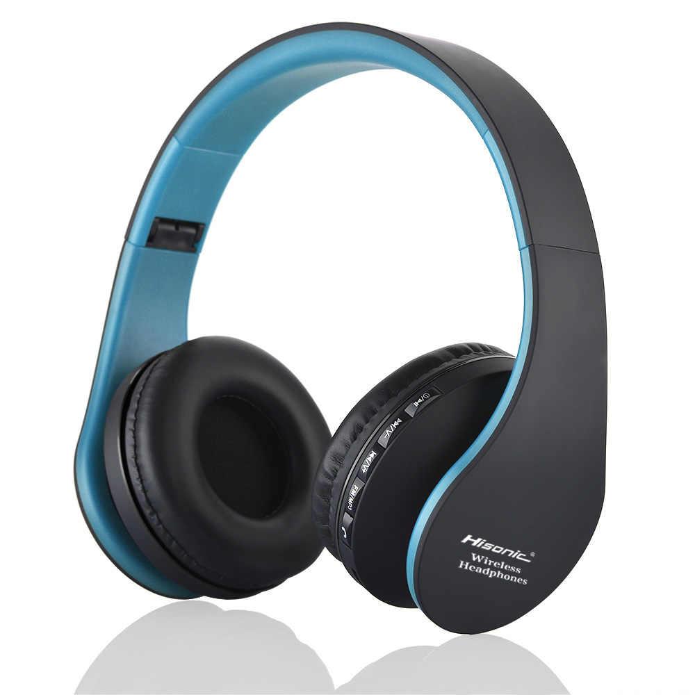 Hisonic Handsfree Fone de Ouvido Estéreo Sem Fio Dobrável Fones De Ouvido Microfone de áudio casque auriculares Fone De Ouvido Fone De Ouvido Fone de Ouvido