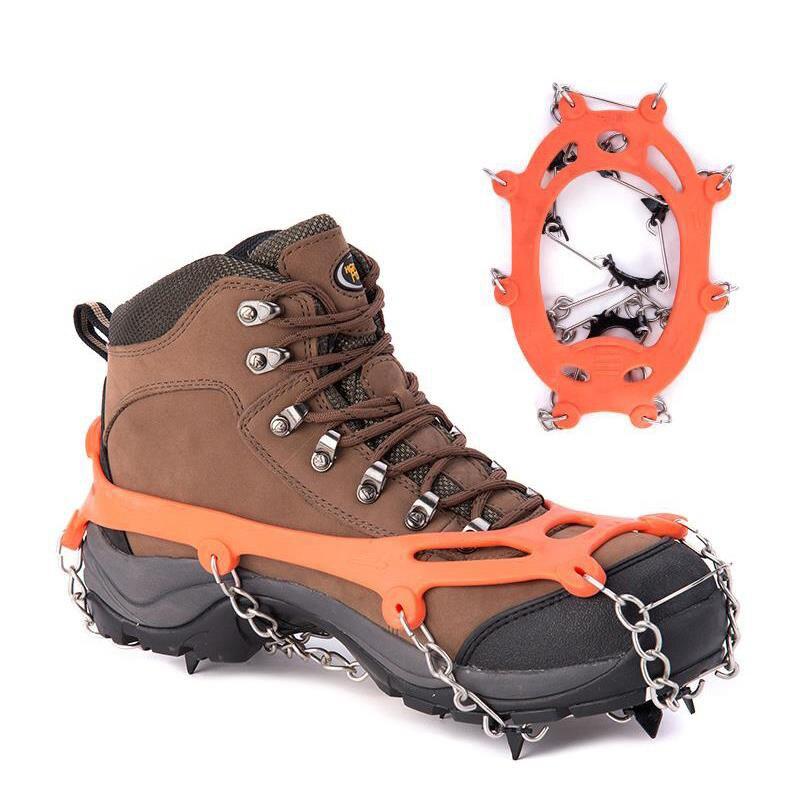 1 пара 8 зубов когти льда кошки марганцевой стали льда захват лыжный снег бутсы пеший Туризм Восхождение нескользящая обувь цепи Крышка
