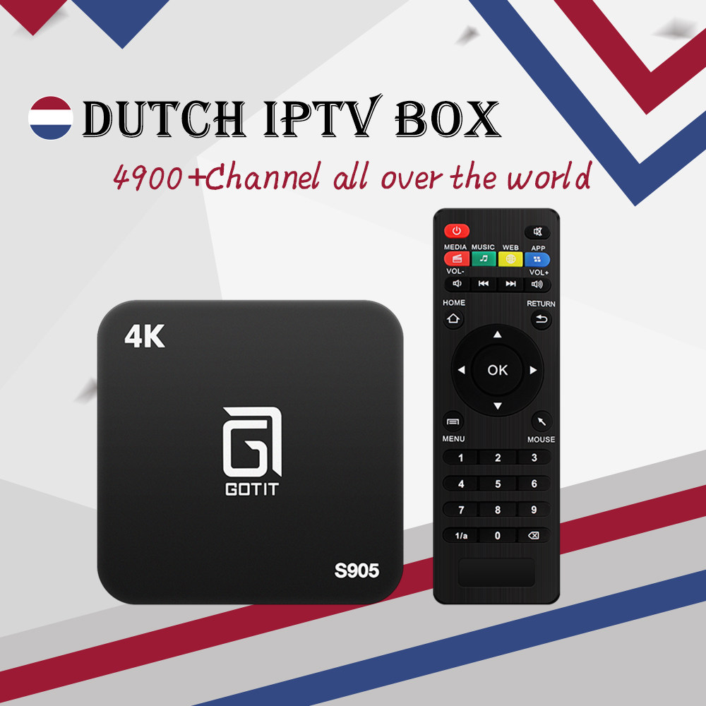 Best Dutch Gotit S905 Android TV Box with 1 Year 4700+Arabic European Netherlands Poland UK IPTV Live& VOD smart tv set top box twip gotit 53