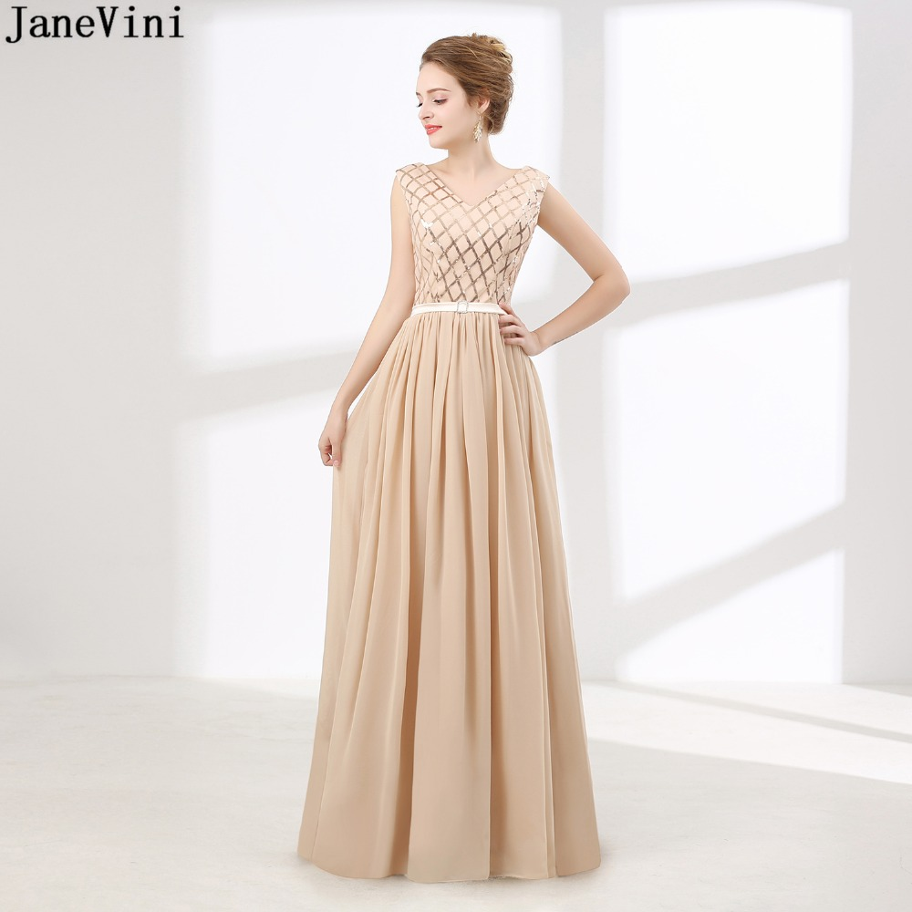 JaneVini Simple Champagne Plus Size Long Bridesmaid Dresses V Neck Sequins  Backless A Line Chiffon Prom Party Gowns Floor Length bae755a6a15a