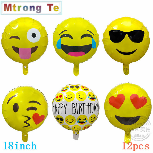 12pcs Lot 18inch Round Emoji Foil Balloons Expression Helium Balloon 45 45cm Happy Birthday