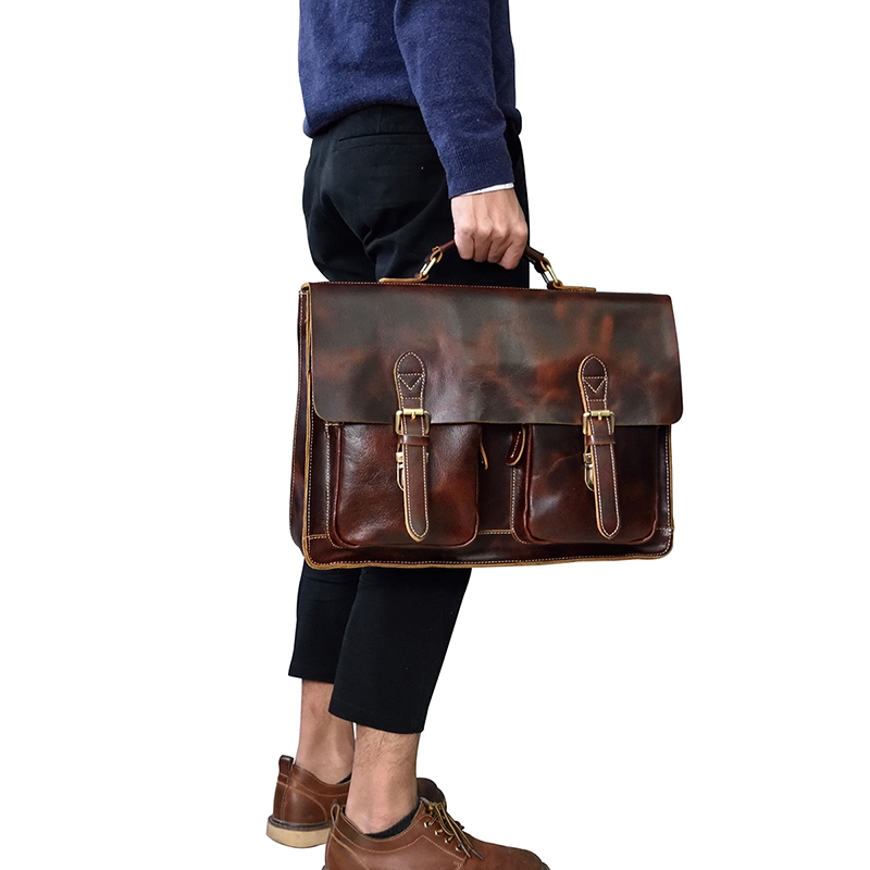 "HTB1AzAfbdfvK1RjSszhq6AcGFXaf Vintage Men's Genuine Leather briefcase 16"" Cowhide Business bag Cow leather Laptop Double Layer messenger bag PC work tote"