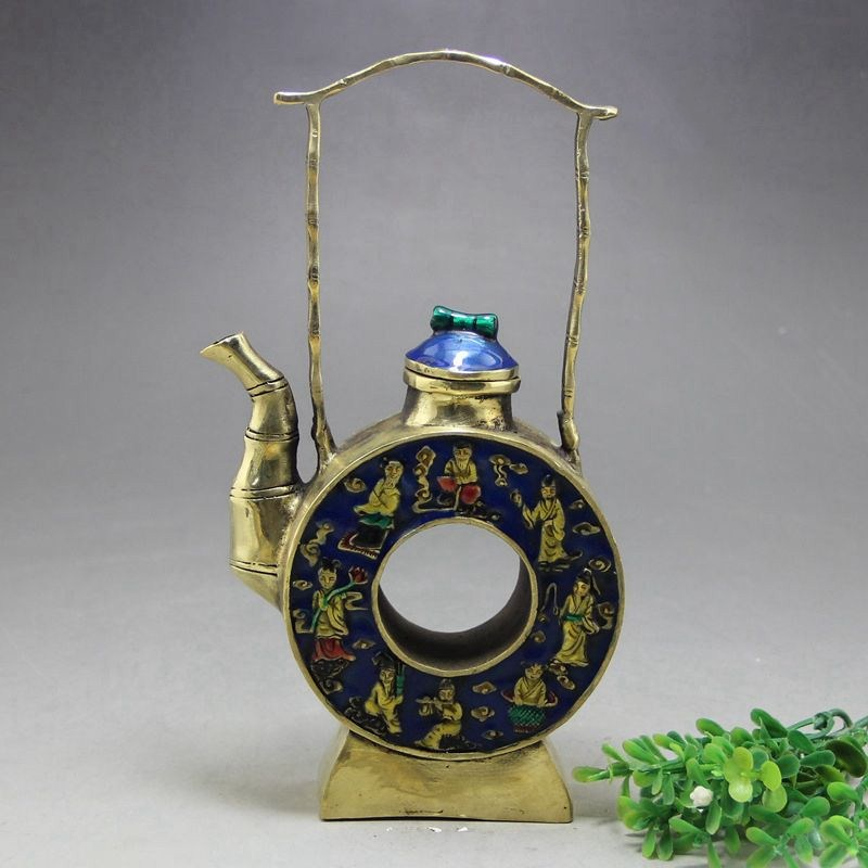 the eight immortals China/'s old handmade exquisite lucky miao silver teapot