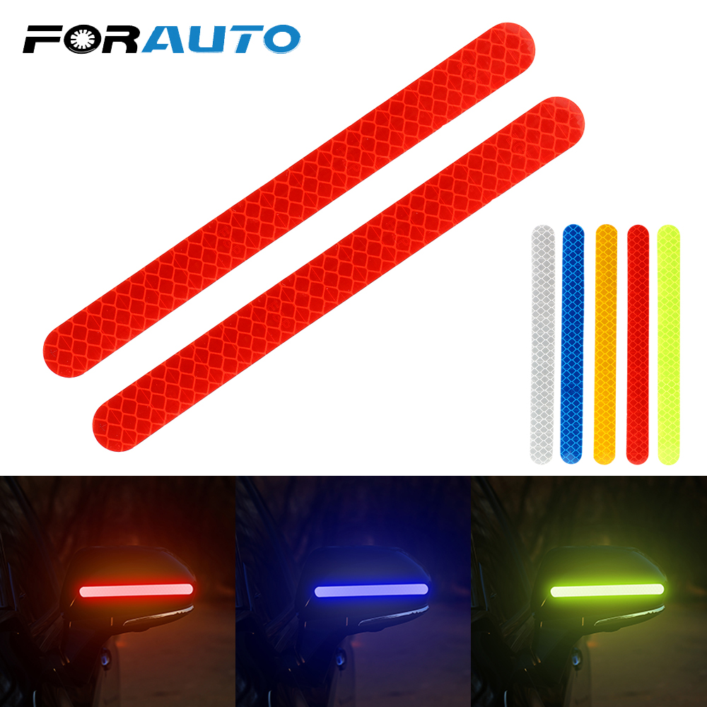 FORAUTO 2 Pieces Car Rearview Mirror Stickers Safety Mark Car Reflective Strip Anti-collision Warning Tape Car-styling