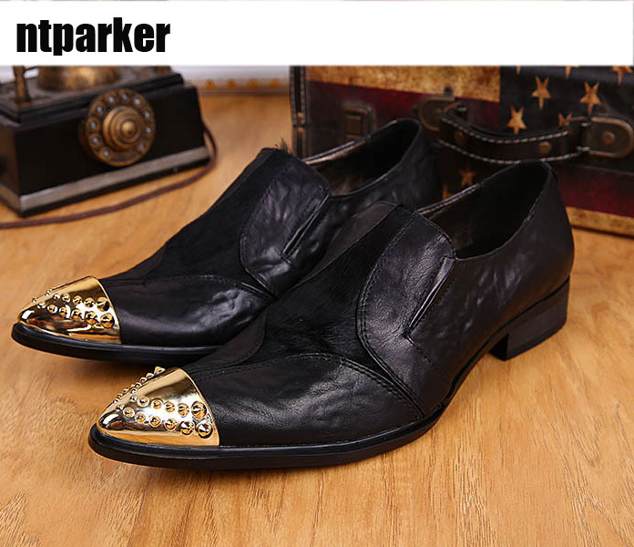 ntparker Arrival Super Cool Man Leather Shoes Business Casual Genuine Cow Leather for Mans Footwear Black Pointed Metel Toes!ntparker Arrival Super Cool Man Leather Shoes Business Casual Genuine Cow Leather for Mans Footwear Black Pointed Metel Toes!