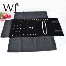 Portable Black Velvet Jewelry Display Set Rolls Travel Organizer Bag Foldable For Earrings Ring Chain Pendant