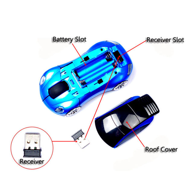 3D 2.4GHz Wireless 1600DPI Usb Optical Gaming Sport Car Shape Mouse Mini Mice For PC Laptop Computer Headlight and Tail Light-Up