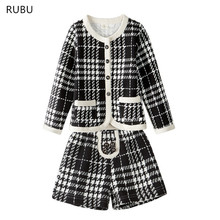 RUBU New Autumn Spring Baby Girl Clothing Set Kids Knitted Plaid Suits Girls Long Sleeve Jackets+Short Pants 2Pcs for Kids Suits