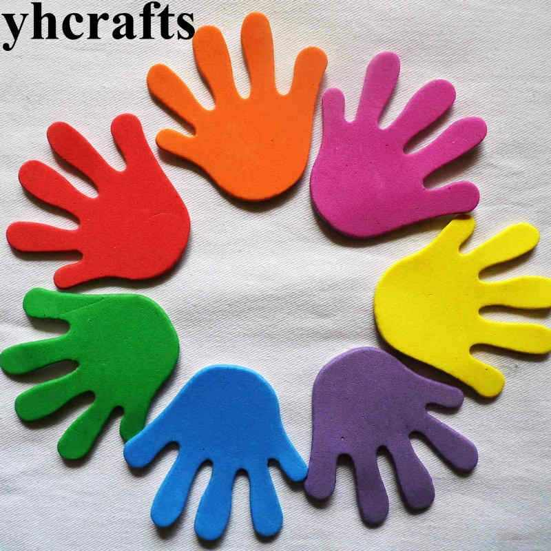 12PCS(1bag)/LOT.Hand shape foam stickers Kindergarten ornament,Early educational crafts Scrapbooking kit Classic toys Wholesale