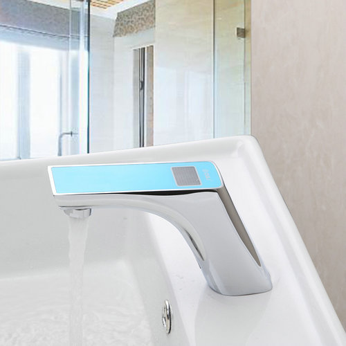 blue no handle sensor torneira digital display bathroom automatic hands touch sensor basin chrome basin sink tap mixer faucet
