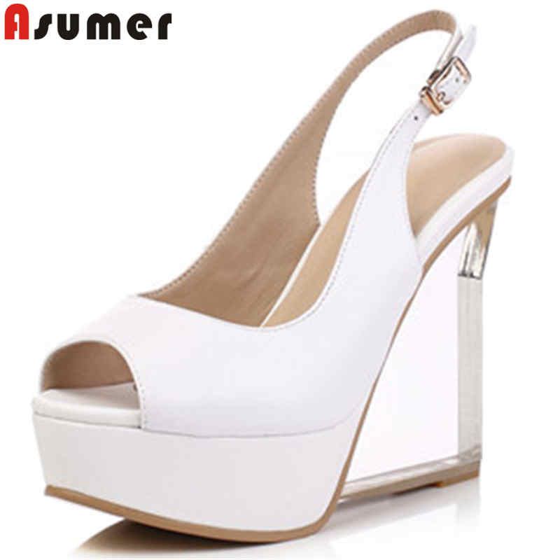 ASUMER fashion summer shoes woman peep toe buckle wedges shoes buckle elegant genuine leather shoes platform high heels sandals asumer beige fashion summer shoes woman square toe shallow elegant sandals women genuine leather high heels shoes