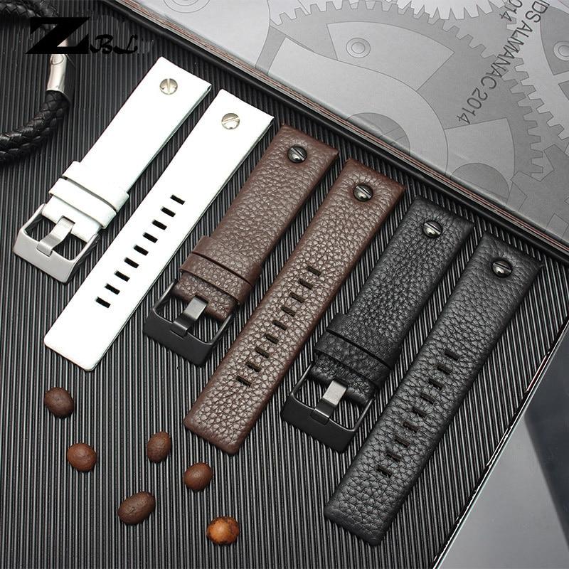 Genuine Leather Strap Watchband 22 24 26 27 28 30mm Litchi Grain For Diesel DZ4316 DZ7395 DZ7305 Watch Band Watch Bracelet