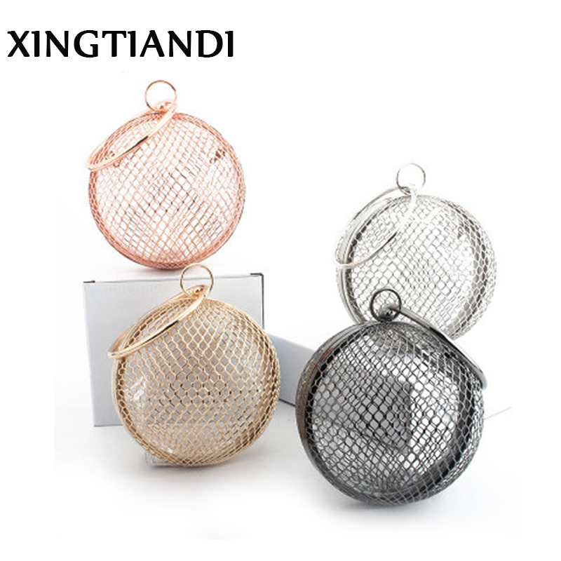 2018 NEW Fashion Hollow Out Evening Bag Round Women Clutch Bag Gold Alloy Ladies Chain Shoulder Bags Luxury Wrist Bag Handbag new arrived ladies pu leather retro handbag luxury women bag evening bag fashion black pearl chain shoulder bag party clutch bag