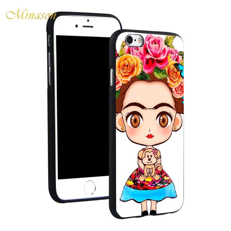 Minason Frida Kahlo Dibujos Animados Soft TPU Silicone Phone Case
