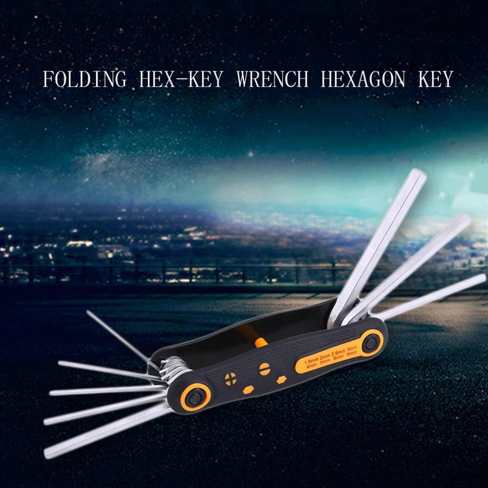 8 em 1 CR-V Portátil Dobrável chave da Chave de Hex-Chave Chave Sextavada Set 1.5mm, 2mm, 2.5mm, 3mm, 4mm, 5mm, 6mm, 8mm