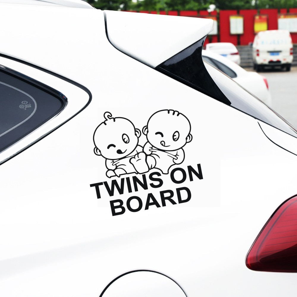 TWINS ON BOARD Car Window Sticker Decal