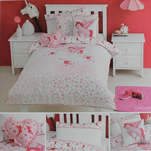 Embroidery Pink Pegasus Horse And Fairy Grils Princess Bedding Set 100 Cotton Kids Duvet Cover 3 Piece Full Double Size In Sets From Home