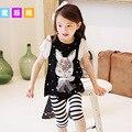 Moda 2016 crianças meninas roupas Chiffon Manga T Camisas Tops + Leggings listradas twinset conjuntos de roupas Bowknot menina de coelho