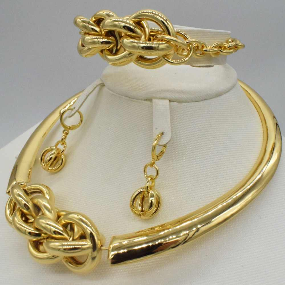 Mode frauen Dubai gold-farbe Afrikanische perlen schmuck sets Braut hochzeit Party shiny zirkon Halskette Armband Ohrring Ring