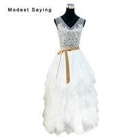 Elegante Con Gradas de Tulle de La Falda Opacidad de Encaje Mejores Vestidos de Boda 2017 Nupciales Largos Blancos Vestidos de Recepción vestido de noiva DW15
