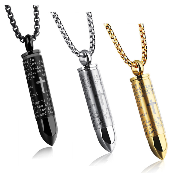 Men English Lord Prayer Bible Stainless Steel Cross Bullet Pendant Chain  Necklace @M23