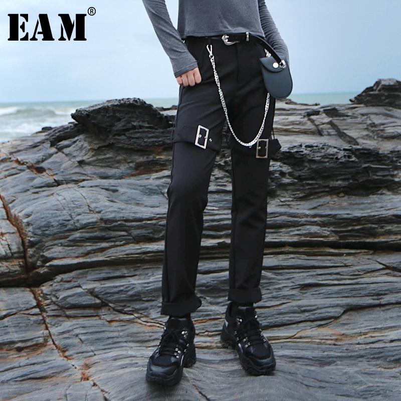 [EAM] 2018 Новый осень-зима Высокая талия черные свободные личности молния шить брюки карандаш Для женщин брюки моды прилив JH343