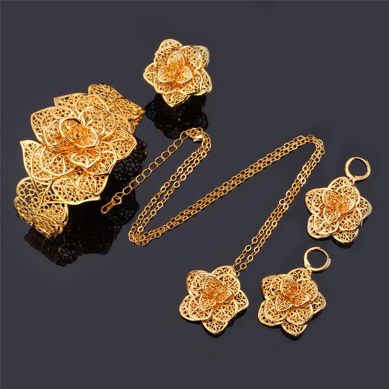 U7 Vintage Big Flower Jewelry Sets Gold Color Necklace Cuff ...