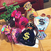 Fashion Women Laser Shiny Shoulder Bag 2017 New Europe And American Personality Colorful Funny Chain Money