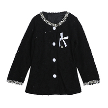 Spring Autumn Children Jackets Baby Bow Knot Corsage Long Coat Girls Winter Long Sleeve Warm Outerwear Girl Clothes
