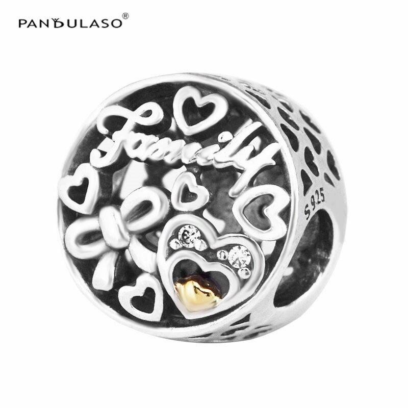 Pandulaso otoño DIY joyería corazón Cuentas para la joyería que hace la familia homenaje oro Cuentas original Amuletos plata 925 pulseras
