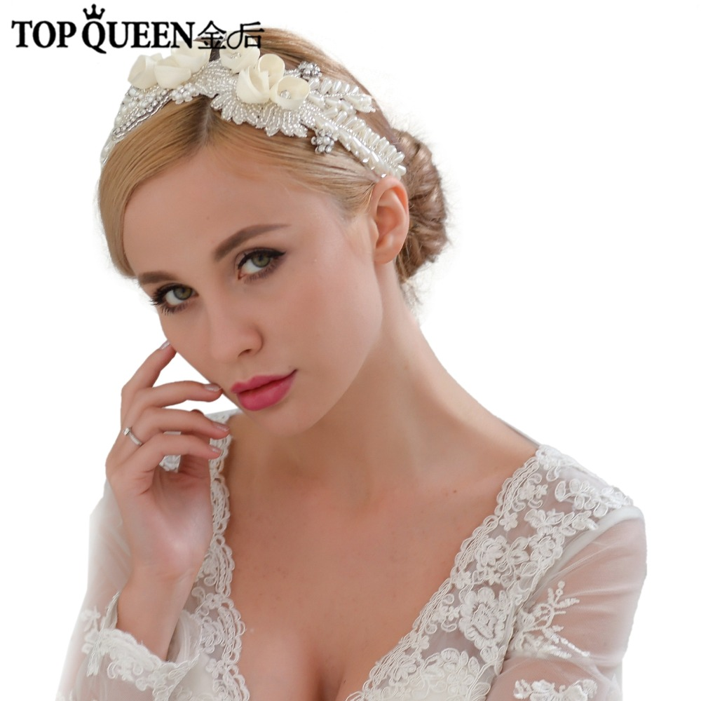 TOPQUEEN H321 Wedding Headpiece Ribbon Flower With Beaded Frontlet Bridal Hair Accessories Hair Jewelry Bride Hair Accessories