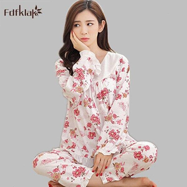 b8f23d2f2c M 3XL Plus size ladies sleepwear long sleeve elegant print pajamas women  winter pijamas set spring autumn pyjama femme A172 -in Pajama Sets from  Underwear ...