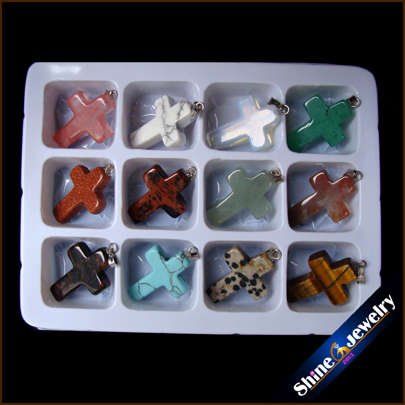 Wholesale 12 pcs 18x25x5 mm Mix Cross Necklace Pendants Natural Stone Beads in Box Specimens Crucifix fit Jewelry Making -HSY04