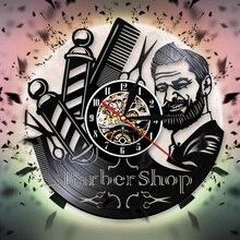 Negozio di barbiere Segno Vintage Vinyl Record Orologio Da Parete Barbieri  Palo Decorativo Orologio Da Parete bd33612039f8