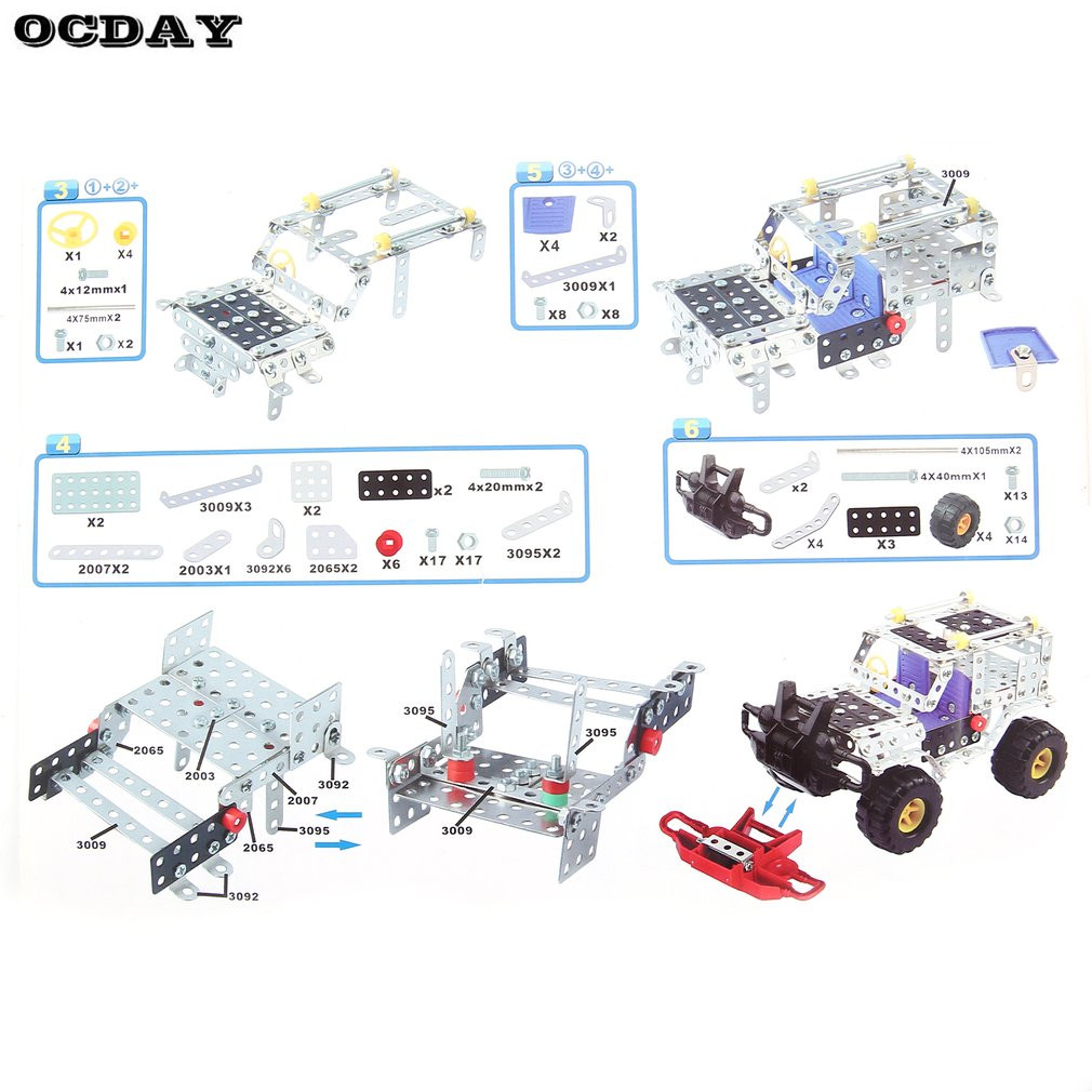US $27 52 |262pcs Plastic Metal Model Kits Puzzle Jeep Car Toy Assembly 3D  Building Construct Kit DIY Blocks Children Educational Toy Hot-in Model
