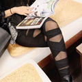 Moda Negro Mesh Mujeres leggins 2015 Pantalones jeggings polainas Transparentes Cruz vendaje elástico delgado Lápiz legging