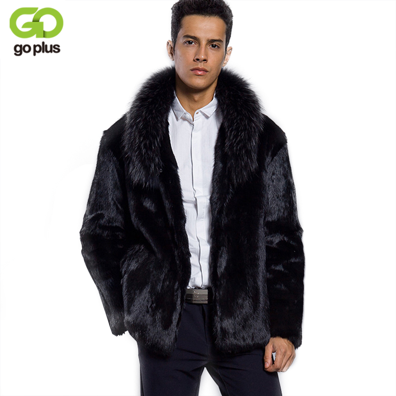 GOPLUS 2019 Winter Men Faux Fur Coat Mink Fur Collar Jackets Full Length Parka Plus Size Men Fur Coats Winter Clothing Female