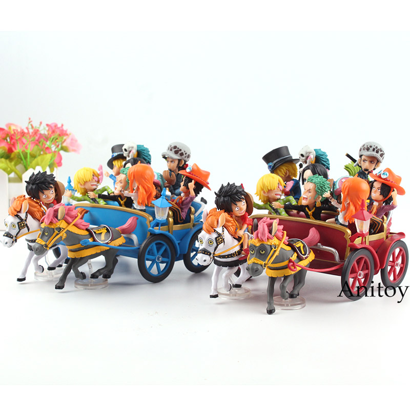 Anime One Piece 20th Anniversary Carriage Set Luffy Nami Zoro Sanji Chopper Ace Sabo Trafalgar Law Hancock PVC Figure Toys anime one piece action figure 20th red clothes luffy mdoel toys pvc collection figurine luffy toys 24cm
