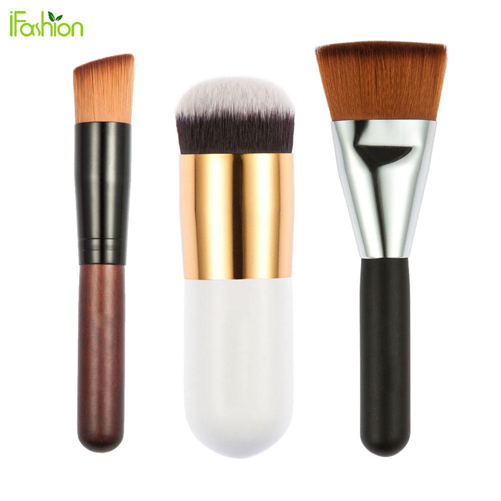 3pcs Makeup Brushes Flat Contour Brush + Fat Head Brush + Oblique Head Brush for Blush Foundation Powder Cosmetic Tool mint flat contour makeup brush