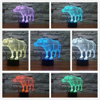 2017 Novelty Wild Animal 3D Cow Shape USB LED Lamp 7 Colors Changing Colorful God Cattle