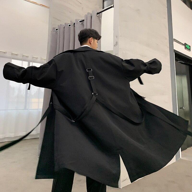 Hommes haute rue Punk Hip Hop ruban lâche longue Trench manteau printemps automne mâle Streetwear mode coupe vent veste - 3