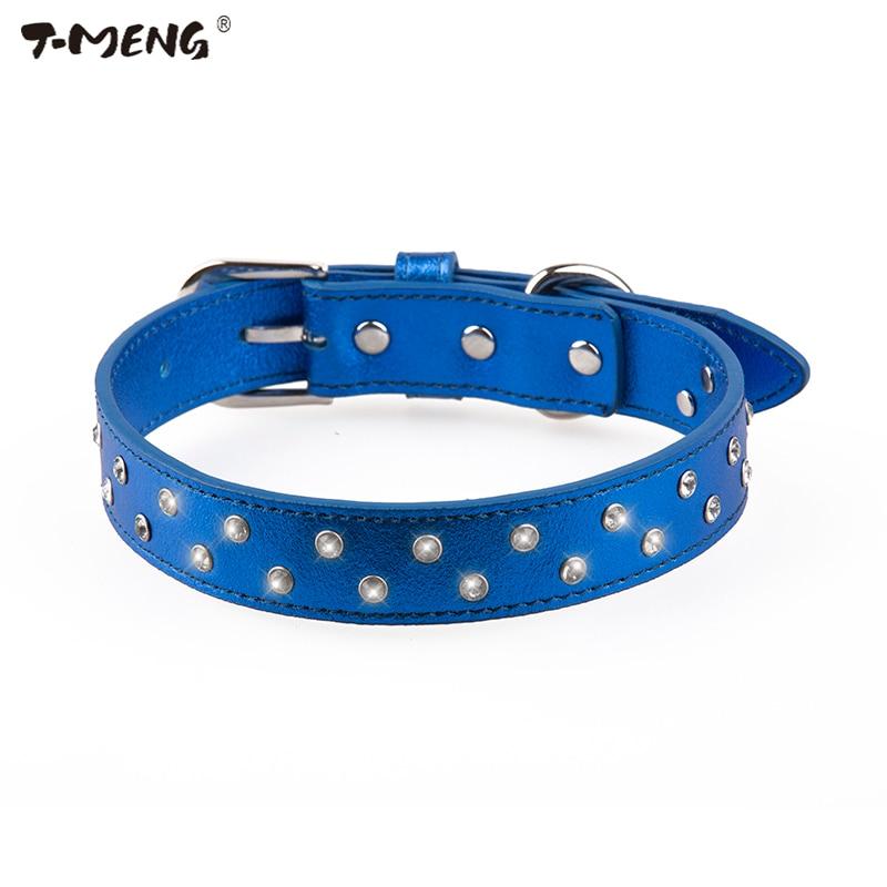 T-MENG 4 գույներով ադամանդներ շան մանյակ փափուկ բնօրինակ կաշի երկու շարքով Rhinestone Bling Pet մանյակ փոքր և մեծ շների համար