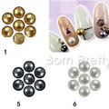 Hot Sale 50Pcs 5mm Cute Round Pearl Silver Gold Black Chic Nail Art Decoration Manicure Tools