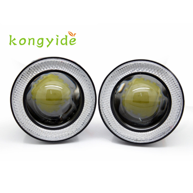 3.0Inch Car Fog Light COB LED Projector Halo Ring DRL Driving Bulbs luz del coche gift hot new drop shipping gift 17june28 2017 new 2 5 30w car angel eye cob halo ring led drl projector lens driving light 12v 24v drop shippping
