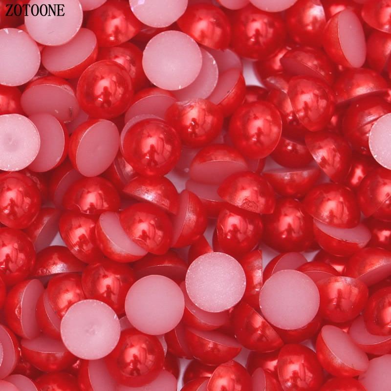 ZOTOONE 1000 шт 2-6 мм перламутровая отделка Steentjes поделки из смолы полукруглые жемчужные бусины с плоской задней поверхностью жемчужные бусины для дизайна ногтей DIY украшения B - Цвет: Red